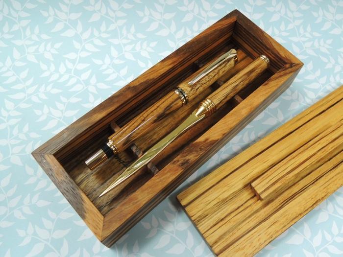Zebrano Pen Kits Desk Set 2