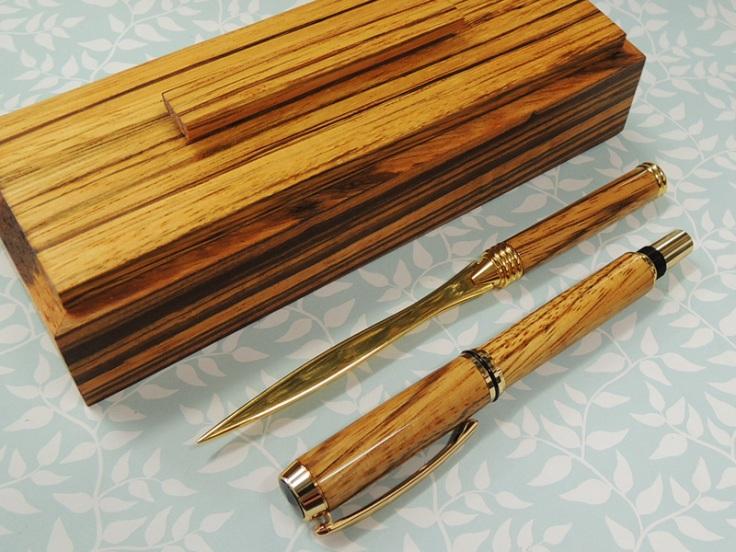 Zebrano Pen Kits Desk Set 3
