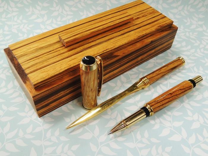 Zebrano Pen Kits Desk Set 4